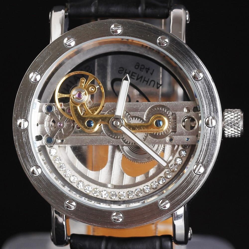 ФОТО Luxury Brand SHENHUA Diamond Watches Men Women Silver Gold Transparent Skeleton Crystal Inlaid Men Automatic Mechanical Watch