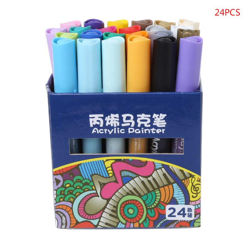 24Colors Acrylic Watercolor Drawing Painting Waterproof Permanent Marker Pen Set  24Colors Acrylic Watercolor Drawing Painting Waterproof Permanent Marker Pen Set