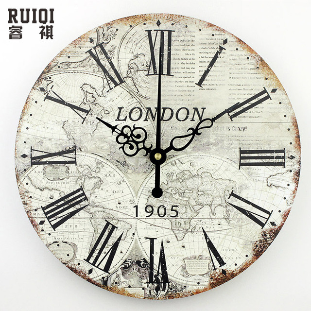 World Map Large Decorative Wall Clock Modern Design Silent Meeting Room Decor Clocks Home Decoration