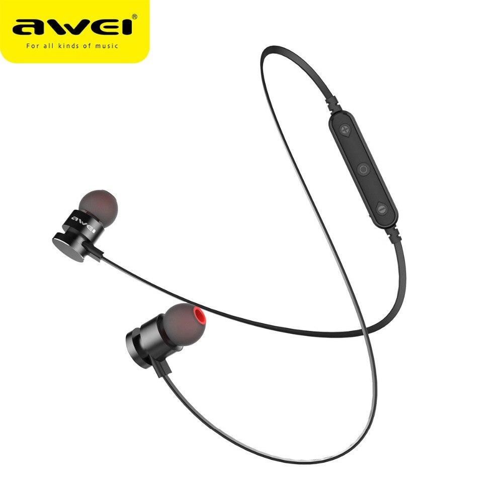 Più nuovo AWEI T11 Cuffia Senza Fili del Trasduttore Auricolare di Bluetooth Per Il Telefono Neckband sport auricolare Auriculare CSR Bluetooth V4.2