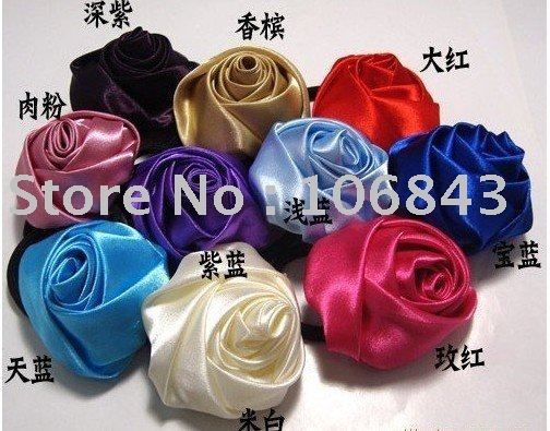 hot Rose Hair band, hair tie. popular hair circle,silks and satins hair flower,freeshipping Women's Day promotional