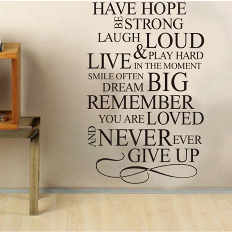 Wall Sticker English Proverbs Poetry HAVE HOPE DIY Wallpaper Home Sofa TV Backdrop Decoration Stickers PVC Hot Sale 0067 In From Garden