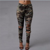 Camo Ripped Pants Women 2017 Sexy Women's Capris Summer Trousers Skinny Ladies Pants Army Green Hole Pencil Pants For Women