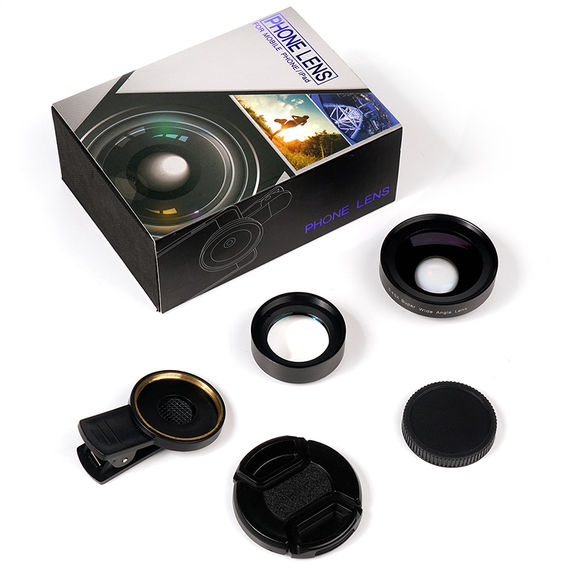 TURATA 2 in 1 HD Phone Len 52mm Calibre 37mm Kit Super 0.45X Wide Angle+15X Macro Clip-on Phone Camera Lens for Smartphone 10