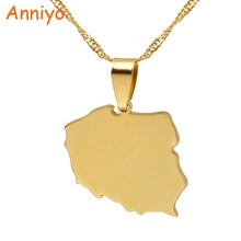 Anniyo Polska Map Pendant Necklaces for Women Jewelry Maps of Poland Chain #021221(China)