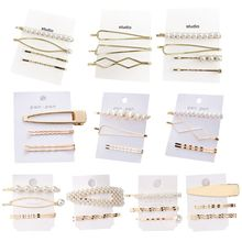 4Pcs/Set Minimalist Geometric One Word Wavy Hairpins Womens Imitation Pearl Hair Styling Clips Metallic Gold Side Bangs Barrette