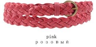 Горячая распродажа бренд ткачество из натуральной кожи тонкий пояса для женщин украшения фраке cummerbunds цвет полная длина 110 см - Цвет: Розовый