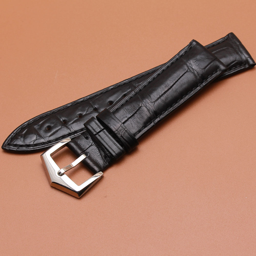 Watchband alligator leather strap mens Black 20mm for brand wristwatch Hour Accessories High quality brand pin buckle watchband