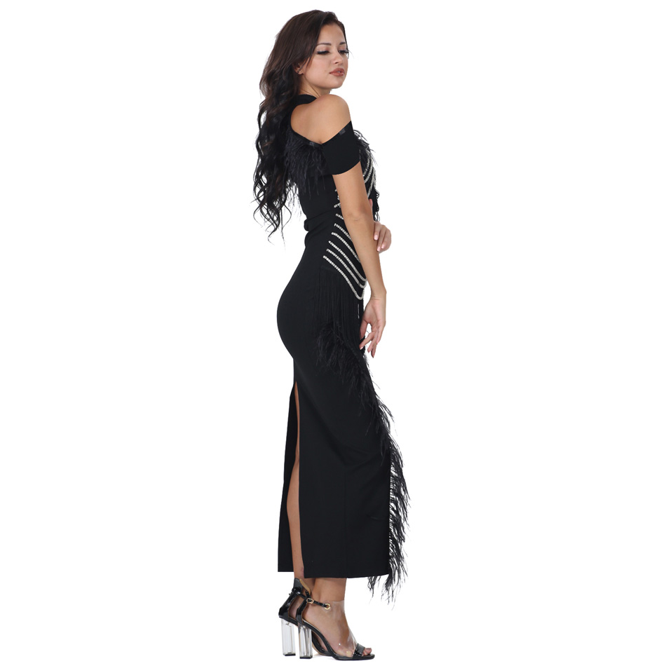 S Curve Feathered Evening Gown Off Shoulder Short Sleeve Beaded Chain  Tassel Back Slit Long Maxi Dress-in Dresses from Women s Clothing on  Aliexpress.com ... 889b6fb15f92