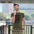 De moda de alta calidad camiseta de los hombres de verano verde del ejército militar de algodón flocado impresión mens t shirts hombres clothing ms-6268a