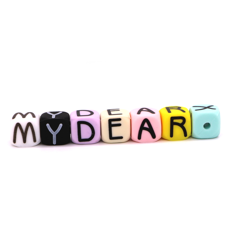 Kid Silicone Alphabet Letter Teething Non-toxic Bead Baby Teether Necklace LA
