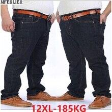 Jeans amples, noirs, extensibles, taille élastique, 9XL, 10XL, 12XL, 150KG, pour hommes, automne