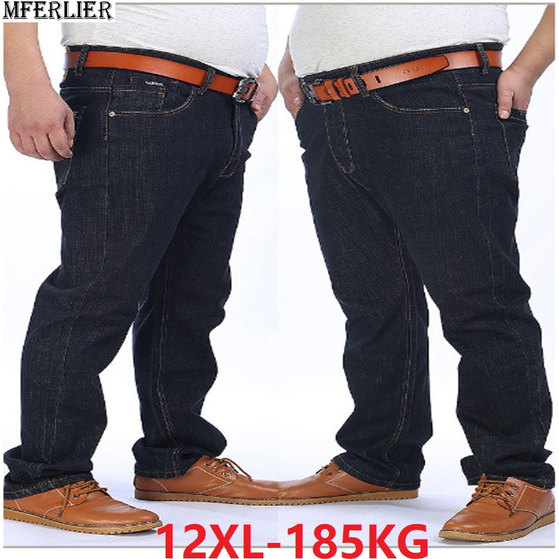Men Jeans 9XL 10XL 12XL Plus Size Big Trousers Spring Pants Elasticity Elastic Waist 50 54 56 58 Stretch Black Loose Jeans 150KG
