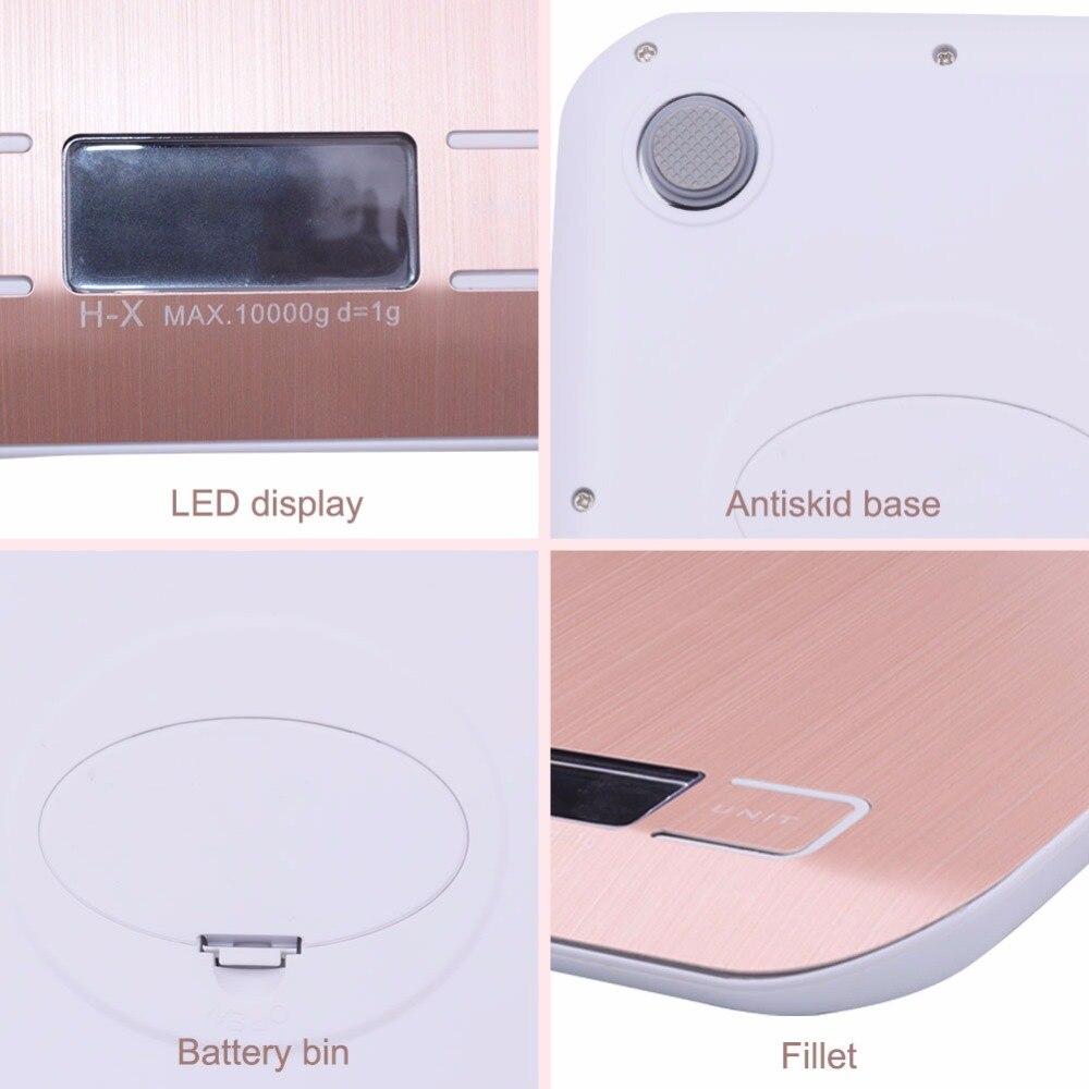 Цифровые кухонные весы yieryi, электронный прибор для измерения пищи, из нержавеющей стали, розовое золото, 10 кг/1 г-3