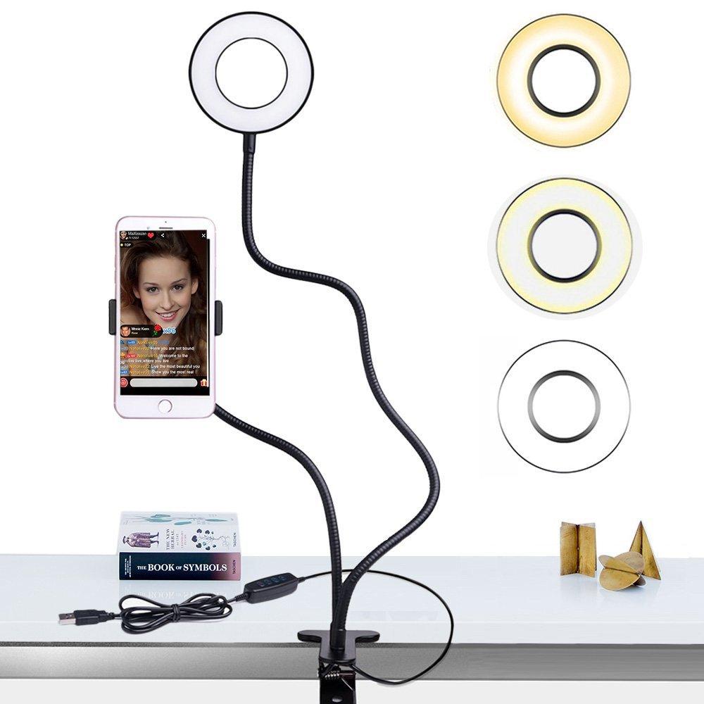 Dimmable Selfie Ring Light with Flexible Mobile Phone Holder Lazy Bracket Desk Lamp LED Light for Live Stream Office Kitchen