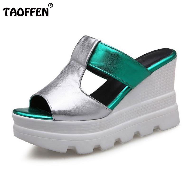 TAOFFEN Women Wedges Sandals High Heels Shoes Women Platform Summer Sandal Slippers Casual Fashion Lady Footwears Size 34-39 woman fashion high heels sandals women genuine leather buckle summer shoes brand new wedges casual platform sandal gold silver