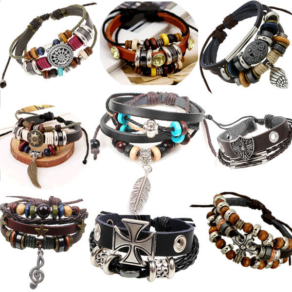 1P Retro rope leather mens bracelets leather rope hand woven bracelet for men rope braided bracelet male female bracelet Jewelry