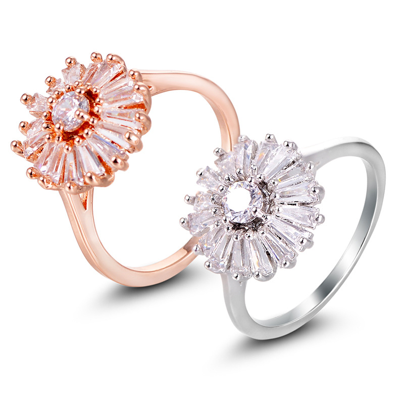 Luxury AAA CZ Zircon Daisy Flower Ring For Women Girls Fashion Rose Gold &Silver Color crystal jewelry Finger Bague