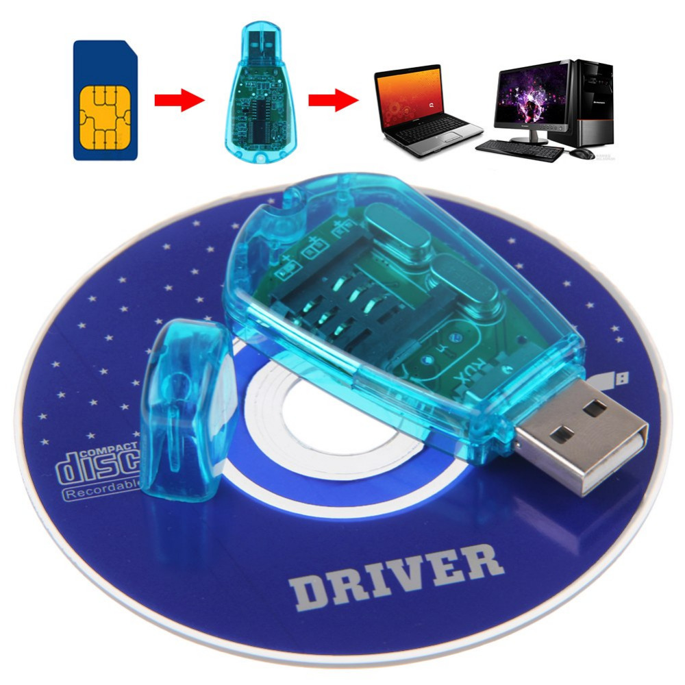 USB Standard Phone SIM Card Reader Copy Cloner Writer SMS Backup GSM/CDMA+CD For Windows XP/ Windows Vista/ Windows 7. 8.1. GT