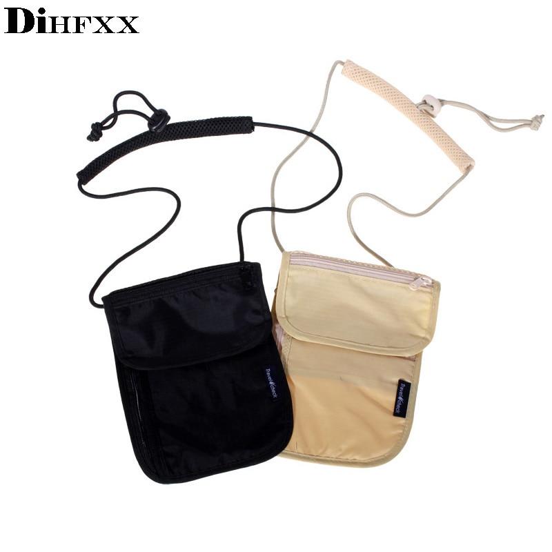 DIHFXX Women Messenger Passport Cover Travel Wallet Men Travel Leisure Hanging Neck Wallet Security Anti-theft Package DX-46