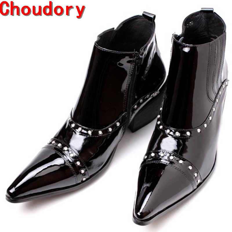 Italian Luxury Brand Pluse Size High Heels Patent Leather Western Cowboy Boots Studded Black Military Boots Dress Shoes Man цена