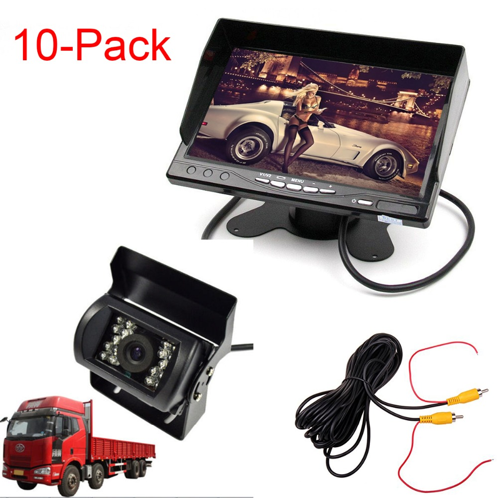 10pcs/lot Car 12V 24V Truck Parking System 7 LCD HD Monitor+Heavy Duty Camera IR Night Vision 10M / 30FT Video Extension Cable