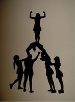 Room Vinyl Wall Decal Girls Room Cheerleaders Silhouette Mural Art Wall Sticker Bedroom Home Decorative