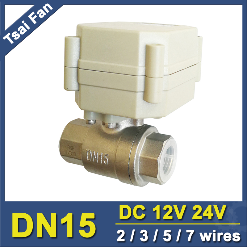 DC12V DC24V BSP/NPT 1/2'' Electric Water Valve 2/3/5/7 Wires Stainless Steel DN15 Motorized Valve BSP/NPT 1/2'' On/Off 5 Sec tf15 s2 b dn15 stainless steel normal close open valve 2 5 wires bsp npt 1 2 ac dc9v 24v electric water valve