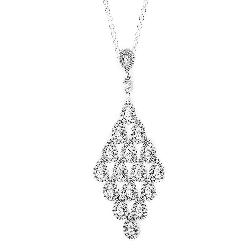 CZ clair en cascade Glamour argent colliers et pendentifs Original 925 bijoux en argent Sterling longue chaîne femmes déclaration colliers