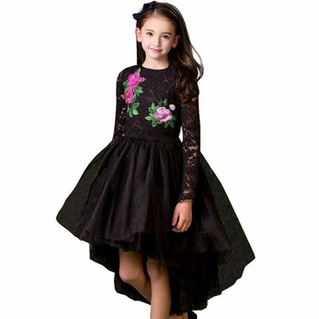 Girls Party Dress Princess Costume 2017 Brand Kids Dresses for Girls Clothes Flower Embroidery Children Black Lace Dress Vestido