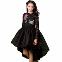 Girls Party Dress Princess Costume 2017 Brand Kids Dresses For Girls Clothes Flower Embroidery Children Black