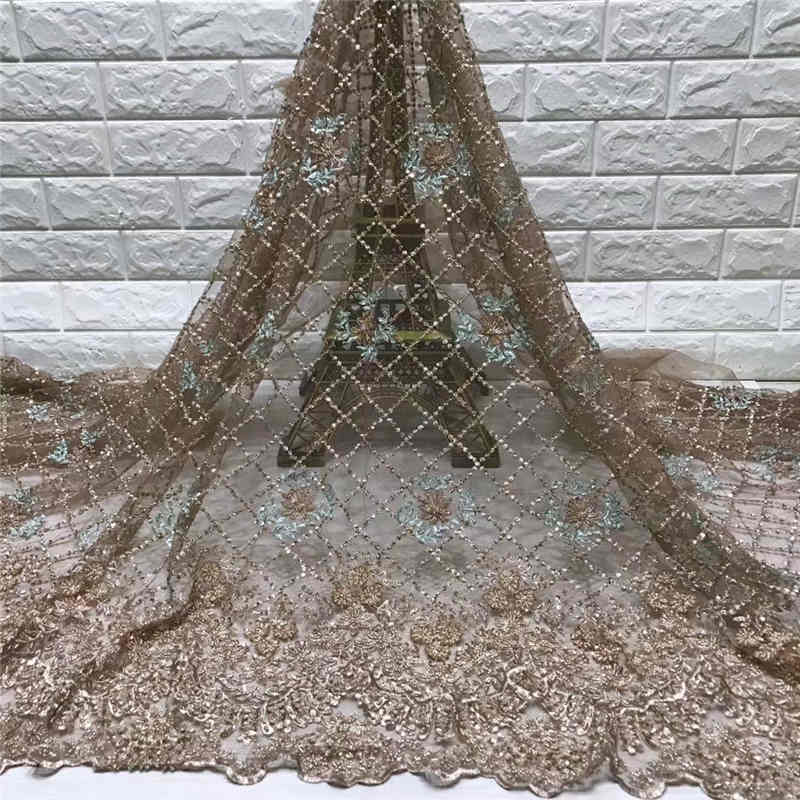 2019 New fashion style heavy Handmade Beads and Feather on netting fabric lace for Wedding or Evening Dresses NX325y 5Yds/Pcs