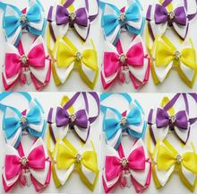 120pc/lot Hot sale 2018 Pet Dog Flower diamond Bow Ties Cute Neckties  Puppy  Cat  Ties Accessories Grooming Supplies LY921 9
