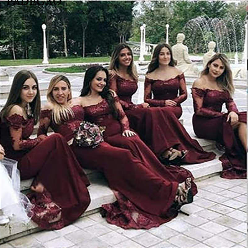 Best Cheap   Bridesmaids     Dresses   Modest Sexy Unique Mermaid Burgundy Off Shoulder Long Sleeves Hot Sale   Bridesmaids     Dresses
