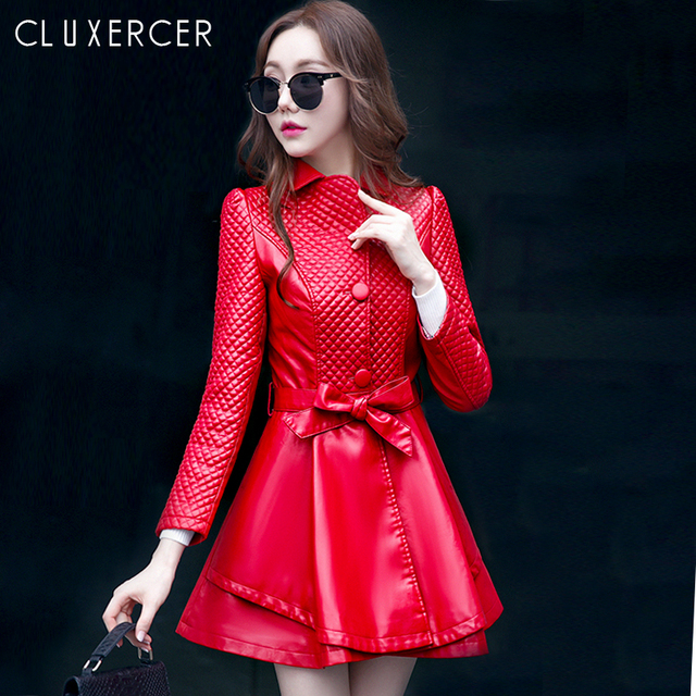 21b5553c9 US $55.55  Fashion Women 2018 New Korean Style Red Black Leather Jacket  Autumn Winter Long Slim Plus Size Female Faux Leather Coat-in Leather &  Suede ...