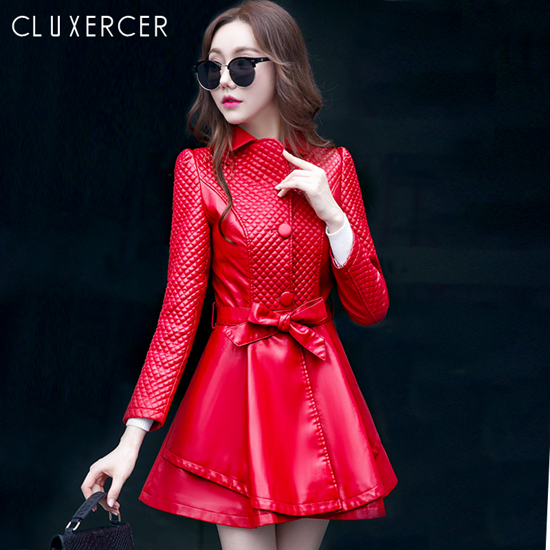 Fashion Women 2018 New Korean Style Red Black   Leather   Jacket Autumn Winter Long Slim Plus Size Female Faux   Leather   Coat