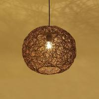 Modern Pendant Lamps Bamboo Weaving Rattan Linen Art Lamps Brown Circular Pendant Light Living Room Dining Room Pendant Lamps