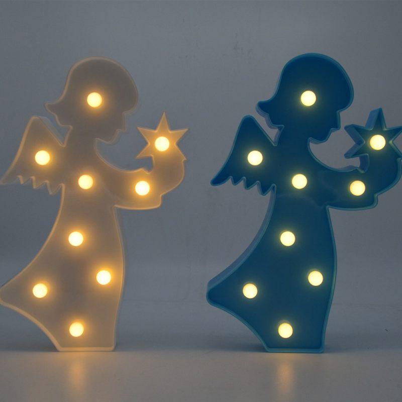 9 LED милый ангел Пластик ночник 3D настольная лампа настольная фары письмо лампа Детская комната украшения белый/синий