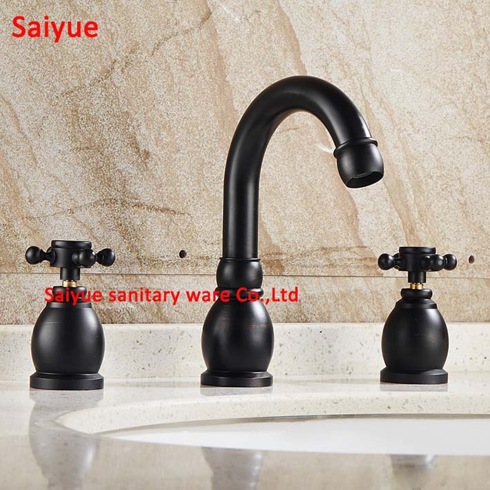 Hot Charming Vintage Black Deck Mounted Three Holes Double Handles Widespread Bathroom Sink Faucet, Oil Rubbed Bronze Mkixer Tap