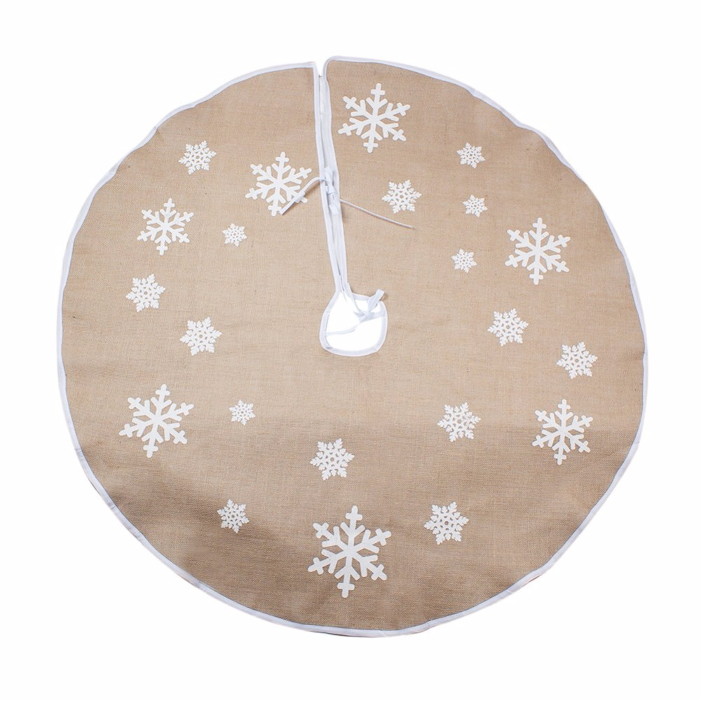 Ourwarm 30 48inch Jute Burlap Snowflake Christmas Tree Skirt Decorations For Home Xmas Event Party Supplies In Skirts From