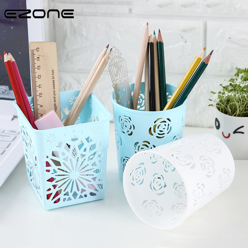 EZONE Candy Color Pen Holder Circle Square Shaped Plastic PP Desktop Storage Box Make Up Cosmetic Holder School Office Supply