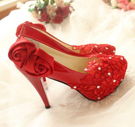 11cm high heels red party pumps shoes lace flowers rose pattern handmade wedding party dance proms dress pumps shoesTG254 sales