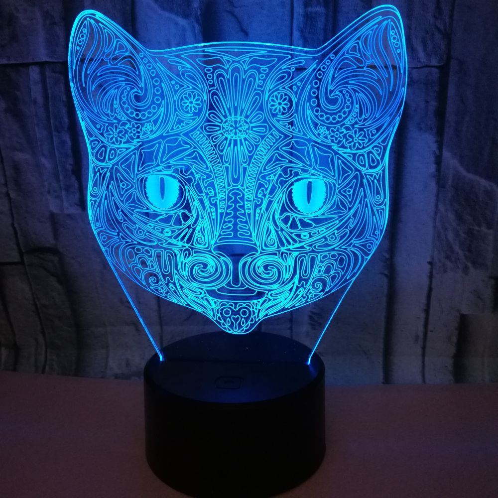 Cut Cat 7 Color Change Led 3D Visual Night Light Soccer Luminaria USB Touch Table Lamp Children Bedroom Sleep Light Kid Gift 3d visual shark 7 color changing touch led table night light