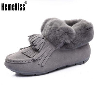 KemeKiss Winter Shoes Women Real Leather Thick Fur Snow Boots Women Tassels Flat Booties For Women