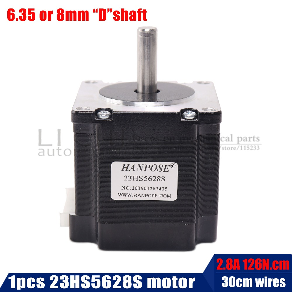 23HS5628 57 23 Nema Do Motor de Passo do motor 4-chumbo 165 Onça-in 56mm 2.8A 6.35mm/ 8mm diame CNC Laser Moer Foam Plasma Cut