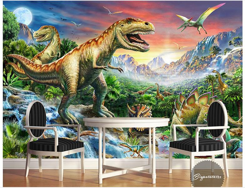 Custom 3d photo wallpaper 3d wall murals wallpaper River stone forest world dinosaur animal oil painting children room wallpaper