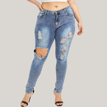 Jeans Woman Plus Size High Waist Ripped Jeans for Women Casual Skinny Hole Denim Jeans modis Streetwear vaqueros mujer 5XL D30 moge 2016 women black ripped jeans sexy cotton women denim jeans vaqueros rotos mujer jean trou genou high waist plus size pant