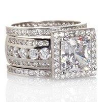 Victoria Wieck Luxury Women Jewelry Full Round Simulated Diamond Cz Ring 925 Sterling Silver Women Engagement