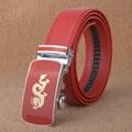 [TG] 2016 Nuevo Diseñador de la Buena Calidad Rojo Correa Dragón Cintos Ceinture Cinturones Hebilla Automática Cinturón de Cuero de Vaca para Los Hombres