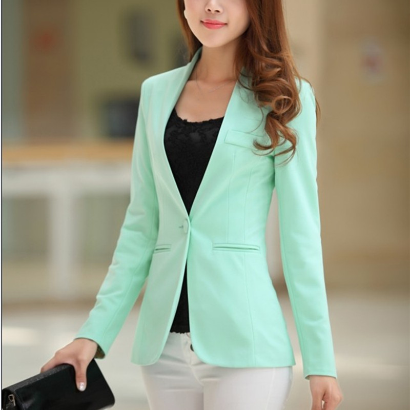 Autumn Women Candy Color Blazers And Jackets Long Sleeve Slim Suit One Button Women Jacket Big Size Blazer
